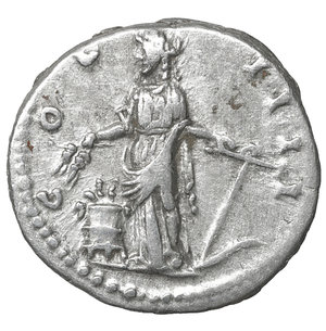 R/ Antoninus Pius (138-161). AR Denarius. 3.60 gr. – 17.5 mm. Rome, 148/149. O:\ ANTONINVS AVG PIVS P P TR P XII, Laureate head to right. R:\ COS IIII, Annona standing facing, head left, holding grain ears and rudder; modius filled with grain ears to left. RIC 175. XF+