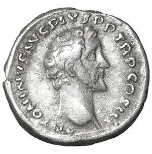 obverse: Antoninus Pius (138-161). AR Denarius. 3.25 gr. – 18.3 mm. Rome. c. 140-143 AD. O:\ ANTONINVS AVG PIVS P P TR P COS IIII, bare head right. R:\ APOLLINI AVGVSTO, Apollo standing front, head left, holding patera and lyre. RIC III, p. 33, 63B. XF