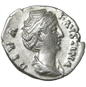 obverse: Diva Faustina I. Died 140/1. Denarius. Rome. Struck under Antoninus Pius. 3.50 gr. – 18.5 mm. O:\ DIVA FAVSTINA. Draped bust right. R:\ AETERNITAS. Aeternitas (or Juno) standing left, raising hand and holding sceptre. RIC 344 (Pius). Near mint state, lustrous.