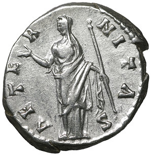 R/ Diva Faustina I. Died 140/1. Denarius. Rome. Struck under Antoninus Pius. 3.50 gr. – 18.5 mm. O:\ DIVA FAVSTINA. Draped bust right. R:\ AETERNITAS. Aeternitas (or Juno) standing left, raising hand and holding sceptre. RIC 344 (Pius). Near mint state, lustrous.