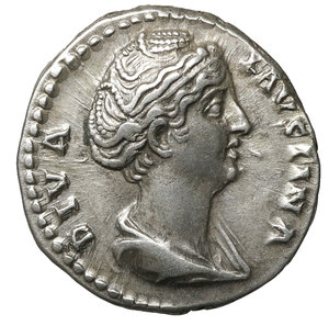 obverse: Diva Faustina I. Died 141 AD. Denarius. 3.23 gr. – 17.5 mm. O:\ DIVA FAVSTINA, draped bust right, hair coiled on top of head R:\ AVGVSTA, Ceres standing left, holding corn ears & long scepter. RSC 78. Uncirculated