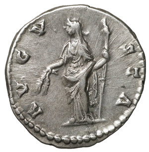 R/ Diva Faustina I. Died 141 AD. Denarius. 3.23 gr. – 17.5 mm. O:\ DIVA FAVSTINA, draped bust right, hair coiled on top of head R:\ AVGVSTA, Ceres standing left, holding corn ears & long scepter. RSC 78. Uncirculated