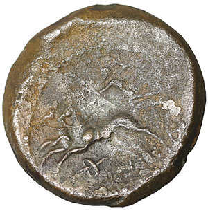 reverse: Bruttium, The Bretti. 214-211 BC. Æ Unit. 3.90 gr. – 17.4 mm. O:\ Winged and diademed bust of Nike left; thunderbolt below. R:\ Zeus, holding thunderbolt and sceptre, driving biga left; grape bunch below. Scheu, Bronze 46; HN Italy 1989. VF\XF
