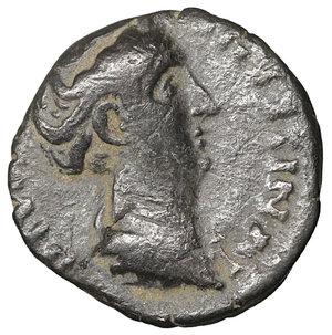 obverse: Diva Faustina Junior. AE Limes Denarius. Rome, AD 176. 3.05 gr. – 16.6 mm. O:\ DIVA FAV-STINA PIA, Draped bust right. R:\ AETERNITAS, Aeternitas standing l. RIC 738. Scarce. VF\XF