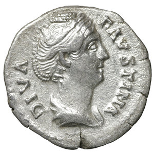 obverse: Diva Faustina Senior. Denarius, after 147 A.D. Rome. 3.05 gr. – 18.0 mm. O:\ Diademed and draped bust r., DIVA FAVSTINA. R:\ Venus standing l. holding apple and resting on large shield, AVGVSTA. RIC 366. UNC