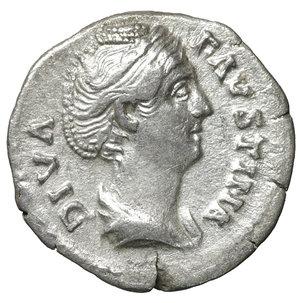 obverse: Diva Faustina Senior. Denarius, after 147 A.D. Rome. 3.05 gr. – 18.0 mm. O:\ Diademed and draped bust r., DIVA FAVSTINA. R:\ Venus standing l. holding apple and resting on large shield, AVGVSTA. RIC 366. UNC