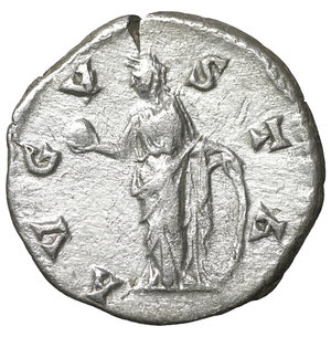reverse: Diva Faustina Senior. Denarius, after 147 A.D. Rome. 3.05 gr. – 18.0 mm. O:\ Diademed and draped bust r., DIVA FAVSTINA. R:\ Venus standing l. holding apple and resting on large shield, AVGVSTA. RIC 366. UNC