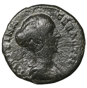 obverse: Macedonia, Thrace. Hadrianopolis. Faustina II. 147-176.  Bronze. 6.05 gr. – 21.3 mm. O:\ Faustina bust roght. R:\ Asclepios amd Hygieia. SNG.Cop: 560. VF+