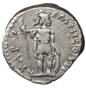 reverse: Lucius Verus. 161-169AD. Denarius. 3,40 gr. - 17,7 mm. O:\ L VERVS AVG ARMENIACVS, laureate head right. R:\ TR P V IMP II COS II, Mars standing right holding spear and leaning on shield. RSC 262. XF