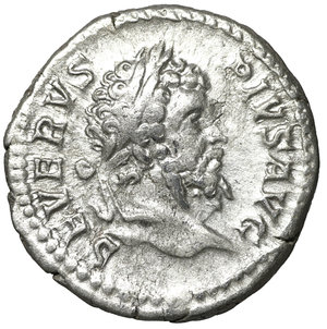obverse: Septimius Severus (193 - 211). Denarius. Rome.3.70 gr. – 18.3 mm. O:\ SEVERVS PIVS AVG. Laureate head right. R:\ VICT PART MAX. Victory advacing left with wreath and palm branch. RIC 295. XF+