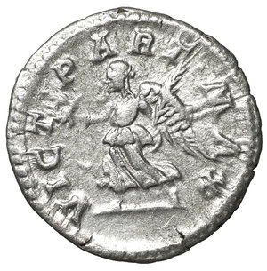 reverse: Septimius Severus (193 - 211). Denarius. Rome.3.70 gr. – 18.3 mm. O:\ SEVERVS PIVS AVG. Laureate head right. R:\ VICT PART MAX. Victory advacing left with wreath and palm branch. RIC 295. XF+