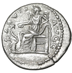 reverse: Septimius Severus (193 - 211). Denarius. Laodicea. 3.30 gr. – 19.4 mm. O:\ L SEP SEVERVS PER AVG P M IMP XI. Laureate head right. R:\ SALVTI AVGG. Salus seated left, feeding snake entwined around altar out of patera. RIC 497a. XF