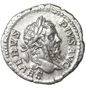 obverse: Septimius Severus. AD 193-211. AR Denarius. 2.90 gr. – 19.3 mm. Rome. 210 AD. O:\ SEVERVS PIVS AVG, laureate head right. R:\ PM TRP XVIII COS III P P, Neptune standing left, holding trident, foot on globe. RIC IV 234; RSC 543; cf Sear 6346 (year). aXF
