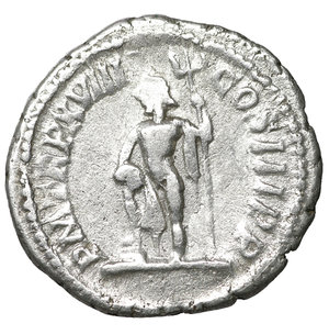 reverse: Septimius Severus. AD 193-211. AR Denarius. 2.90 gr. – 19.3 mm. Rome. 210 AD. O:\ SEVERVS PIVS AVG, laureate head right. R:\ PM TRP XVIII COS III P P, Neptune standing left, holding trident, foot on globe. RIC IV 234; RSC 543; cf Sear 6346 (year). aXF
