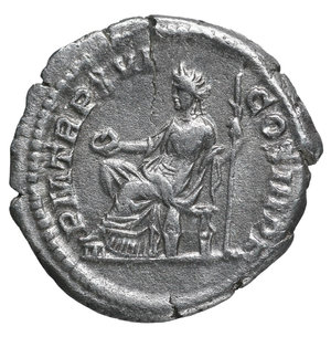 reverse: Septimius Severus. AR Denarius, 208, Rome. 3,2 gr. – 19,9 mm. O:\ SEVERVS-PIVS AVG; Laureate head right. R:\ P M TR P XVI-COS III P P; Salus seated left, sacrificing from patera in right hand over lit and garlanded altar at left, scepter in left hand. RIC IV, Part I, 221. VF/EF