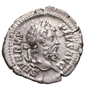 obverse: SEPTIMIUS SEVERUS. 193-211 AD. DENARIUS. Struck 202 AD. AG 3.50 gr. – 20.08 mm. O:\ SEVERVS PIVS AVG, laureate head right. R:\ VICT PART MAX, Victory advancing left, holding wreath and palm. RIC 295. VF/XF