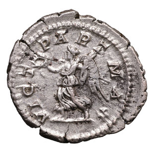 reverse: SEPTIMIUS SEVERUS. 193-211 AD. DENARIUS. Struck 202 AD. AG 3.50 gr. – 20.08 mm. O:\ SEVERVS PIVS AVG, laureate head right. R:\ VICT PART MAX, Victory advancing left, holding wreath and palm. RIC 295. VF/XF