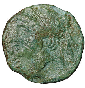 obverse: Bruttium. The Brettii. 214-211 BC. Half Unit. AE 3.10 gr. – 17.7 mm. O:\ Head of Nike left, wearing diadem, at left NIKA, behind, barley-ear. R:\ BPETTIΩN, Zeus standing right, holding thunderbolt and sceptre, below star. HN Italy 1982; SNG Copenhagen 1681; SNG ANS 60. VF\XF