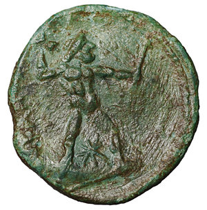 reverse: Bruttium. The Brettii. 214-211 BC. Half Unit. AE 3.10 gr. – 17.7 mm. O:\ Head of Nike left, wearing diadem, at left NIKA, behind, barley-ear. R:\ BPETTIΩN, Zeus standing right, holding thunderbolt and sceptre, below star. HN Italy 1982; SNG Copenhagen 1681; SNG ANS 60. VF\XF