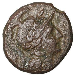 obverse: Lucania. Herakleia. 281-100 BC. Bronze. Æ 13.2 mm – 2.60 gr. O:\ Helmeted head of Athena right. R:\ |-HΡAKΛEIΩN, Herakles standing left, lion's skin on left arm and club on left shoulder. SNG ANS 103; SNG Cop. 1139. XF