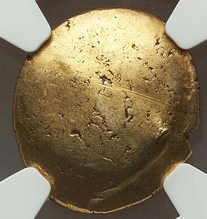 reverse: GAUL. Ambiani. Ca. 59-50 BC. AV stater (5.74 gm). Gallic War issue. Blank convex surface / Disjointed horse right, crescents and pellets around. Depeyrot, NC VI 161. SCBC 11. Well struck. NGC Choice AU 5/5 - 4/5.