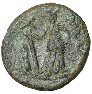 reverse: Lucania. Metapontion. 300-250 BC. Bronze. AE4.25 gr. – 16.4 mm. O:\ Head of Leukippos l., wearing crested Corinthian helmet. R:\ META, Demeter standing facing, head r., l. hand on hip, holding long cross-torch in r. HNItaly 1702; SNG Copenhagen 1249; SNG ANS 561var. VF\XF
