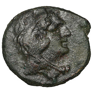 obverse: Lucania. Metapontion. 300-250 BC. Bronze. AE 2.40 gr. – 15.4 mm. O:\ Head of Herakles r., beardless and wearing lion-skin. R:\ META, barley-ear with leaf to r. above, cross-torch. Johnston 46; HNItaly 1682; SNG Copenhagen 1251; SNG ANS 1270. Rare. Brown patina. aXF
