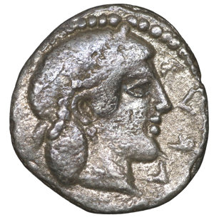 obverse: Sicily. Syracuse. Second Democracy circa 466-405 BC. Litra. AR 10 mm - 0,61 gr. O:\ ΣVRA (R retrograde), Archaic head of Arethusa right. R:\ Octopus. SNG ANS 137. XF