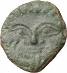 obverse: SICILY HIMERA 450-420 BC. HEMILITRON. AE 13.65 gr. - 23.40 mm. O:\ Gorgoneion with protruding tongue. R:\ Six pellets. SNG ANS 180. aXF