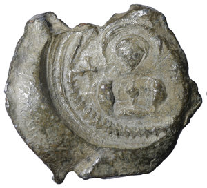 D/ BYZANTINE LEAD SEALS. 13.04 gr. - 27,00 mm. Romanos (Circa 6th century). O:\ Ῥωμανοῦ. R:\ Facing bust of saint; cross to left and right. XF+
