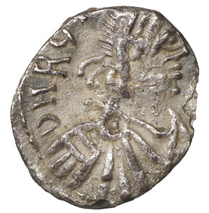 obverse: GERMAN TRIBES THE VANDALS. Thrasamund, 496-523. Half siliqua, Carthage 496-523. 0,72 gr. - 12,7 mm. O:\ DN RG THRA – SAMVNDVS Pearl-diademed, draped and cuirassed bust r. R:\ DN within wreath. BMC Vandals 12. MIB 6a. MEC I, 17. Old cabinet tone. VF+. R2