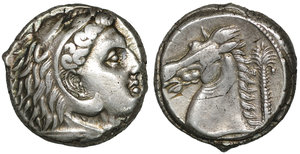 reverse: SICILY. Entella. Punic issues. 300-289 BC. AR Tetradrachm. 21.5 mm - 17.03 gr. 8h. O:\ Head of Herakles right, wearing lion skin. R:\ Head of horse left; club to left, palm tree to right, Punic MḤSBM below. Jenkins, Punic 398 (O121/R326); HGC 2, 295. Rare. Toned XF
