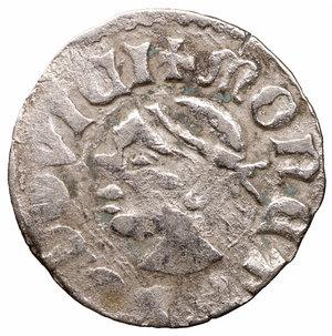 D/ Medieval Hungary. Ludwig I. 1342-1382. Denar. AR 0.5 gr. - 13.3 mm. O:\ Saracen Head R:\ Double cross. VF+