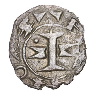 D/ FRANCE. Languedoc. County of Melgueil Anonymous, in name of Raymond 12th-13th Centuries AD. AR Obol (Obole) 0,17 gr.-13,98 mm. O:\ Cross formed of fasces or capital and two penants or mitres flanking. RAMVNDS. R:\ Four annulets in cruciform pattern. NAIDONA. Boudeaux 754; Poey d'Avant 3844; Duplessy 1578. VF. SCARCE
