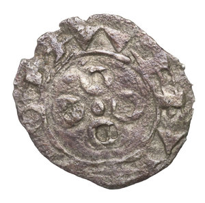 R/ FRANCE. Languedoc. County of Melgueil Anonymous, in name of Raymond 12th-13th Centuries AD. AR Obol (Obole) 0,17 gr.-13,98 mm. O:\ Cross formed of fasces or capital and two penants or mitres flanking. RAMVNDS. R:\ Four annulets in cruciform pattern. NAIDONA. Boudeaux 754; Poey d'Avant 3844; Duplessy 1578. VF. SCARCE