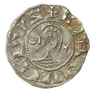 obverse: CRUSADERS, Antioch. Bohémond III. 1163-1201. AR Denier. 0.95 gr, - 17.5 mm. Class C, var. c. Struck circa 1163-1188. O:\ + BOAИVHDVS, helmeted and mailed head left; crescent before, star behind. R:\ + AИTI:OCHIA, cross pattée; crescent in second quarter. Metcalf, Crusades 378; CCS 67d. Old Cabinet toning. XF. Rare
