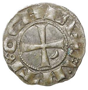 reverse: CRUSADERS, Antioch. Bohémond III. 1163-1201. AR Denier. 0.95 gr, - 17.5 mm. Class C, var. c. Struck circa 1163-1188. O:\ + BOAИVHDVS, helmeted and mailed head left; crescent before, star behind. R:\ + AИTI:OCHIA, cross pattée; crescent in second quarter. Metcalf, Crusades 378; CCS 67d. Old Cabinet toning. XF. Rare