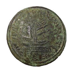 D/ Medieval Hungary. Bela III of Arpad (1172-1196), AE Scyphate Follis. O:\ + SANCTA-MARIA Madonna, nimbate, seated left, holding infant Jesus and flower. R:\ R_EX BELA-R_EX STS; Kings seated facing. 25,33 mm, 2.15 gr. Huszar 72. EF.