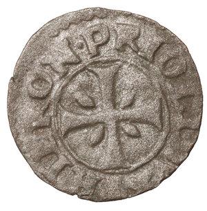 R/ Venezia. Girolamo Priuli. 1559-1567 DC. Carzia per Cipro. BI 13 mm - 0,38 gr. O:\ + • HIERON • PRIOLI • DVX •, croce patente. R:\ + S • MARCVS • VENETVS, Leone. Papadopoli 91; Paolucci 17. BB\SPL