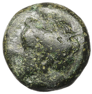 obverse: Zeugitania. Carthage. 400-350 BC. Bronze Æ 4,65  gr. - 13,8 mm. O:\ Wreathed head of Tanit left. R:\ Horse galloping right. SNG Copenhagen 97. XF