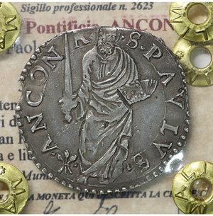 obverse: Stato Pontificio. ANCONA. Paolo IV (1555-1559). Giulio. 3.06 gr. – 27.5 mm. D:\ Stemma sormontato da tiara e chiavi decussate. R:\ San Paolo stante di fronte con spada e libro Ser. 221; Munt. 41. Rara. SPL