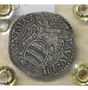 reverse: Stato Pontificio. ANCONA. Paolo IV (1555-1559). Giulio. 3.06 gr. – 27.5 mm. D:\ Stemma sormontato da tiara e chiavi decussate. R:\ San Paolo stante di fronte con spada e libro Ser. 221; Munt. 41. Rara. SPL