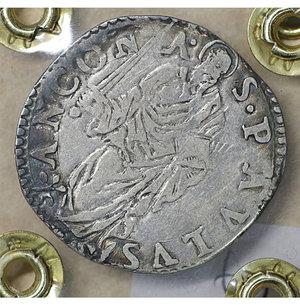 reverse: Stato Pontificio. ANCONA. Paolo IV (1555-1559). Giulio. 2.9 gr. – 27.6 mm. D:\ Stemma sormontato da tiara e chiavi decussate. R:\ San Paolo stante di fronte con spada e libro Munt. 40/44. Rara. BB\SPL