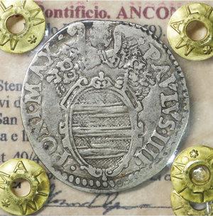 obverse: Stato Pontificio. ANCONA. Paolo IV (1555-1559). Giulio. 2.94 gr. – 27.4 mm. D:\ Stemma sormontato da tiara e chiavi decussate. R:\ San Paolo stante di fronte con spada e libro Munt. 40/44. Rara. BB\SPL