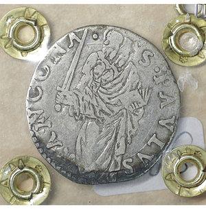reverse: Stato Pontificio. ANCONA. Paolo IV (1555-1559). Giulio. 2.94 gr. – 27.4 mm. D:\ Stemma sormontato da tiara e chiavi decussate. R:\ San Paolo stante di fronte con spada e libro Munt. 40/44. Rara. BB\SPL