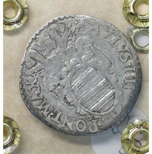 reverse: Stato Pontificio. ANCONA. Paolo IV (1555-1559). Giulio. 3.08 gr. – 26.7 mm. Stemma sormontato da tiara e chiavi decussate /R San Paolo stante di fronte con spada e libro Munt. 40/44. BB\SPL