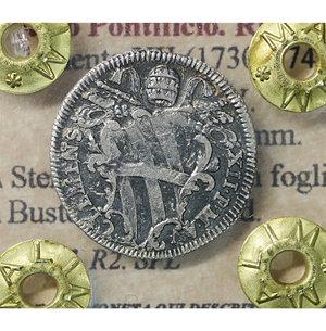 obverse: Stato Pontificio. ROMA. Clemente XII (1730-1740). Grosso A.V. 1.05 gr. – 18.4 mm. D:\ Stemma a targa con fogliami. R:\ Busto del Santo a d. Munt. 187. R2. SPL