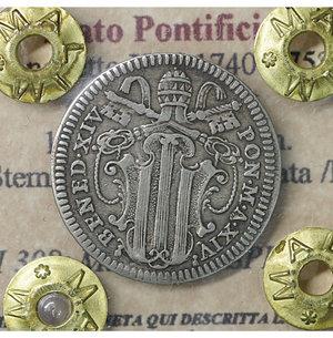 obverse: Stato Pontificio. Benedetto XIV 1740-1758. Grosso A. XIV.  1.25 gr. – 20.3 mm. Stemma a targa sagomata /R L Immacolata. CNI 308; Munt. 66b. SPL