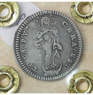 reverse: Stato Pontificio. Benedetto XIV 1740-1758. Grosso A. XIV.  1.25 gr. – 20.3 mm. Stemma a targa sagomata /R L Immacolata. CNI 308; Munt. 66b. SPL
