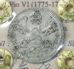 obverse: Stato Pontificio. Pio VI (1775-1799). Carlino 1780 A. VI. 2.85 gr. – 21.6 mm. CNI 74; Munt. 87. Raro. SPL+